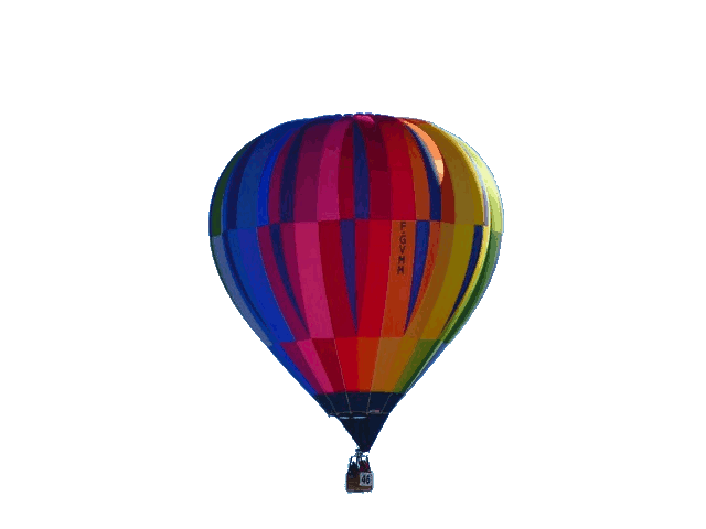In this example, we remove the background from a BMP image of a hot air balloon. We target the bluish color of the sky and select the visually closest color with the color picker. The picker automatically enters the selected color in the color-to-match field (in RGB format). Since the color of the sky changes from light blue to blue, we increase the fuzziness threshold to 10% to match all these color tones in the background gradient.